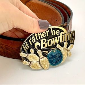 VINTAGE | 1984 bowling leather panorama belt USA